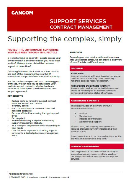 Support Contract Management datasheet visual